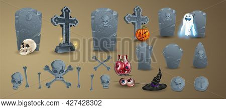 Halloween Elements And Objects For Design Projects. Tombstones For Halloween. A Set Of Tombstones. A