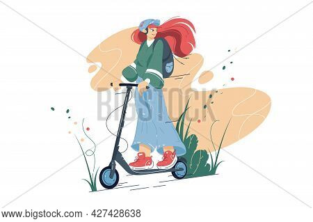 Smiling Girl Riding On Electric Scooter Vector Illustration. Happy Teenager On Scooter Flat Style Co