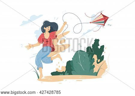 Happy Smiling Woman Flying A Kite Vector Illustration. Teenager Having Fun With Kite In Park Flat St