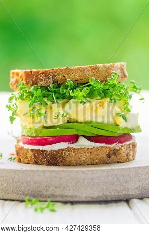 Delicious Healthy Sandwich Of Gluten-free Bread With Flax And Sunflower Seeds With Cream Cheese (ric