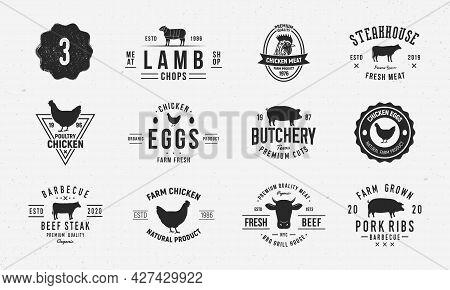 Farm Animals Logo Set. Lamb, Beef, Chicken, Pork Logo Templates. Livestock, Farm Vintage Emblems. Tr