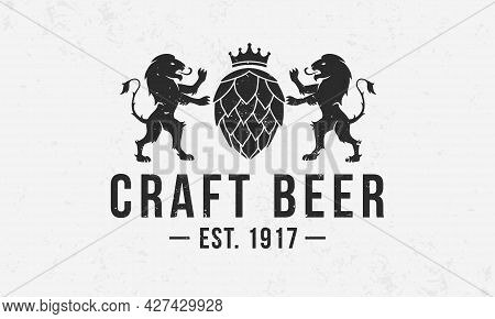 Heraldic Beer Monogram. Vintage Craft Beer Logo With Hop And Lions Silhouettes. Beer Crest With Grun