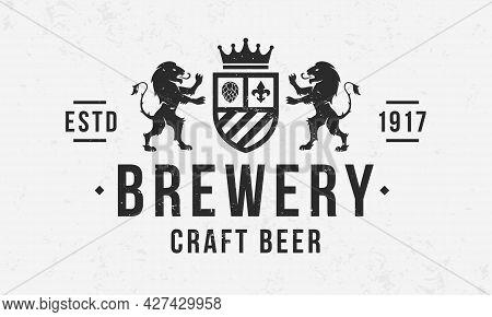 Beer Crest. Craft Beer Vintage Logo. Brewery Logo With Heraldic Lions And Grain Texture. Trendy Hips