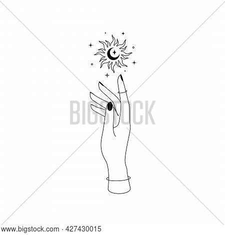 Mystic Celestial Sun With Crescent Moon Constellations Over Woman Hand Outline Silhouette. Vector Il