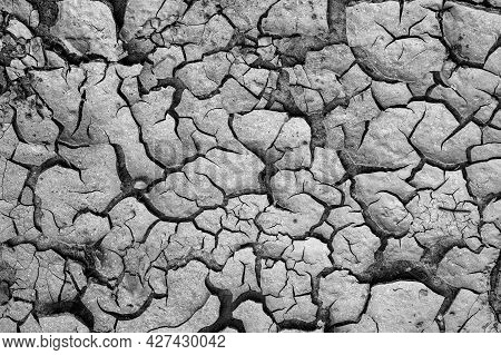 The Texture Of A Cracked Ground Occured After Drought For Use As A Background.