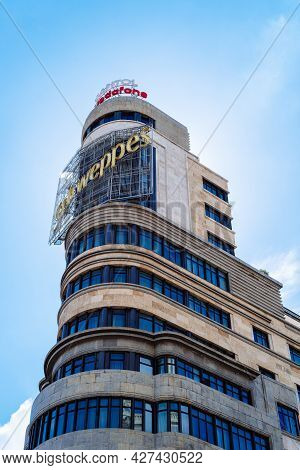 Madrid, Spain - June 18, 2021: Carrion Or Capitol Building In Gran Via. Located In Callao Square Is