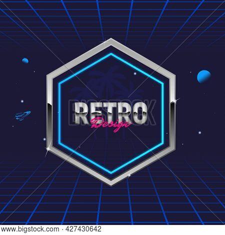 Retro 80's Frame. Hexagon Abstract Frame. Template For Social Media. Hipster Design. Retro 80's Logo