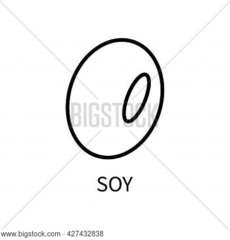 Icon Soy Bean Line In A Simple Style. Source Of Milk, Protein, Sauce. Vector Sign In A Simple Style