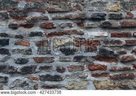 Brickwork Background. Concrete Wall With Bricks Texture. Old Masonry. Cement Texture For Design.