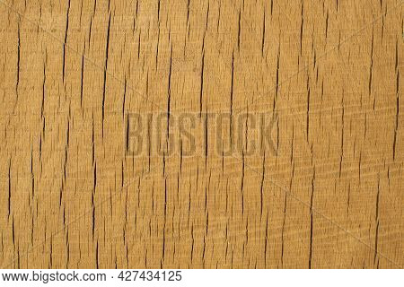 Full Frame Of A Piece Of Wooden Plank With Repetitive Cracks For Use As Background. Wood Cross Secti