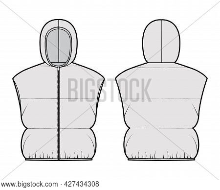 Hooded Down Vest Puffer Waistcoat Technical Fashion Illustration With Zip-up Closure, Loose, Crop Le