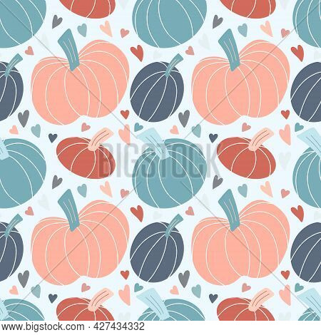 Cute Seamless Pattern With Pastel Pumpkins Hand Drawn In Simple Childish Scandinavian Style And Colo