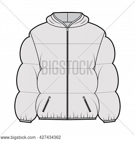 Hooded Jacket Down Puffer Coat Technical Fashion Illustration With Long Sleeves, Pockets, Boxy Fit,