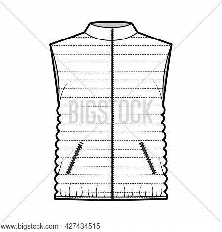 Down Vest Puffer Waistcoat Technical Fashion Illustration With Stand Collar, Pockets, Loose Fit, Hip