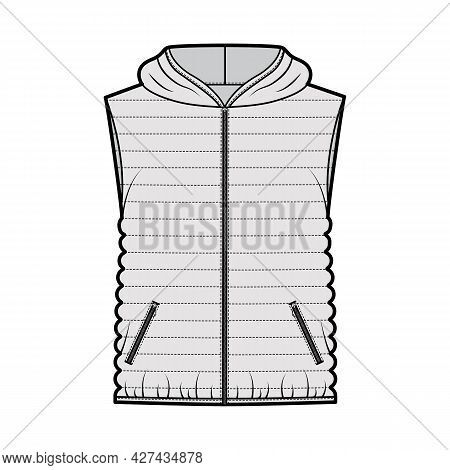 Down Vest Puffer Waistcoat Technical Fashion Illustration With Sleeveless, Hoody Collar, Zip-up, Hip