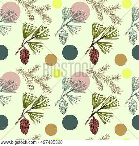 Seamless Pattern With Pine And Hemlock Branches. Hand Drawn Vector Illustration