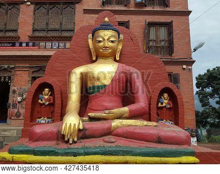 Buddhist Statue In Nepal. Golden Statue Of Buddha Sacred Relic Of Nepal Buddhism Religion, Kathmandu