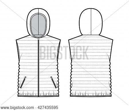Down Vest Puffer Waistcoat Technical Fashion Illustration With Hoody Collar, Zip-up Closure, Hip Len