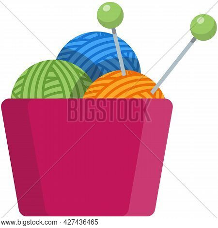 Bowl With Wool Yarn Thread Skein And Spoke Vector