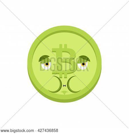 Bitcoin Nausea Feeling Sick Emotion Isolated. Sick Cryptocurrency Cartoon Style. Ill Vector