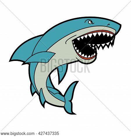 Shark Isolated. Sea Predator. Large Predatory Marine Fish. Vector Illustration