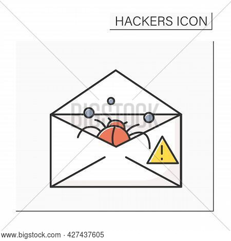 Email Phishing Color Icon. Bug In Mail Envelope Line Pictogram. Concept Of Postal Scam, Fraud And Ma