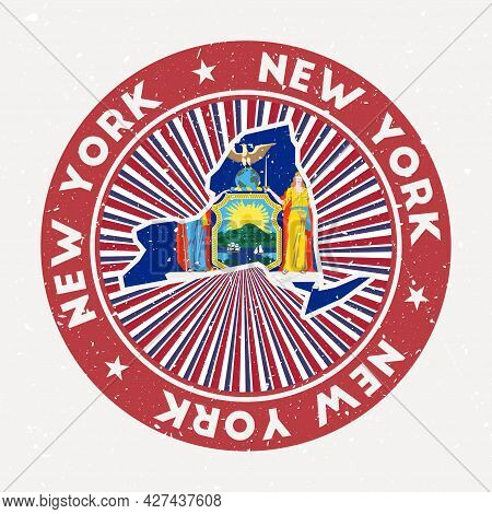 New York Round Stamp. Logo Of Us State With State Flag. Vintage Badge With Circular Text And Stars,