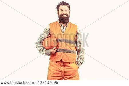 Worker In Construction Uniform. Man Builders, Industry. Builder In Hard Hat, Foreman Or Repairman In