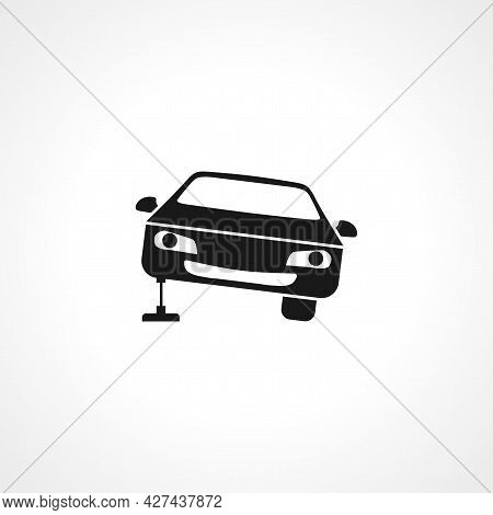 Car Repair Icon. Car Stands On The Jack Icon. Car Repair Isolated Simple Vector Icon.