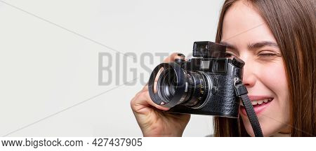 Girl With A Cameras. Woman Holding Camera. Girl Using A Camera Photo. Photographer Camera Photo, Pho