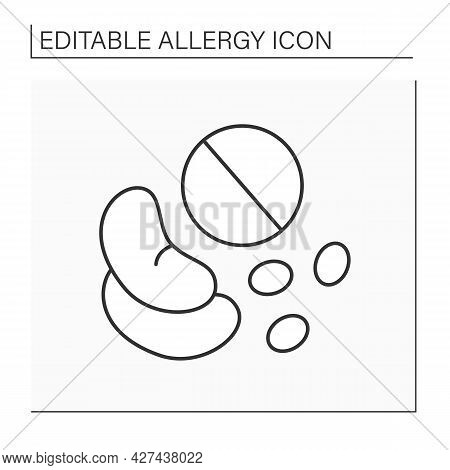 Allergy To Food Line Icon. Allergic Reactions By Skin Contact Or By Inhalation Of Vapor From Raw Gre