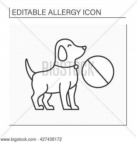 Allergy To Dog Line Icon. Symptoms Of Allergic Reaction To Dog Coat. Intolerance Of Hairy Animals. H