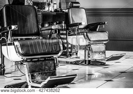 Barbershop Armchair, Modern Hairdresser And Hair Salon, Barber Shop For Men. Beard, Bearded Man. Bla