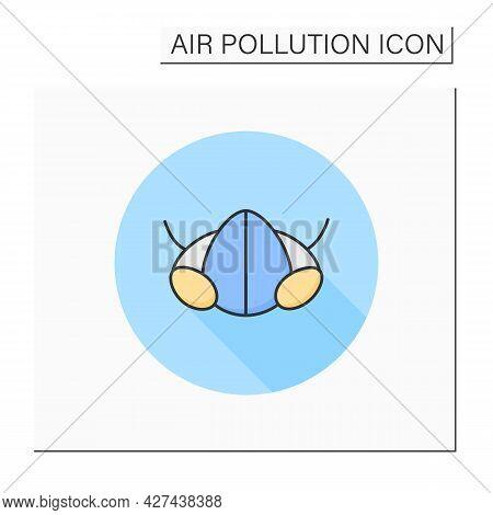 Half Face Respirator Color Icon. Respiratory Protection. Air Purifying Face Mask. Biohazard Vapors P