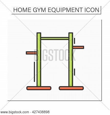 Pull Up Bar Color Icon. Athletics And Workout Home Gym Equipment. Concept Of Pullup And Athletic Tra