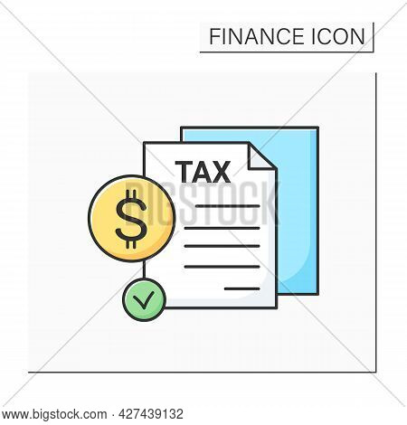 Tax Report Color Icon. Profit Or Income Annual Declaration With Dollar Sign. Concept Of Taxation, Fi