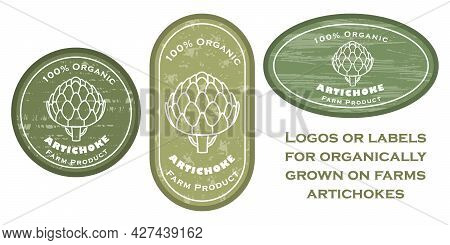 Three Logo Patches With Artichoke And Texture