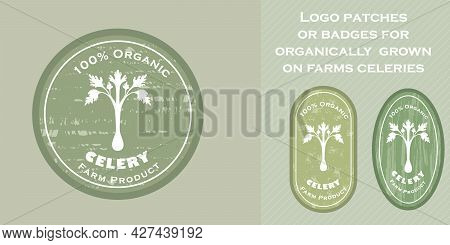 Three Logo Patches With Celery And Texture
