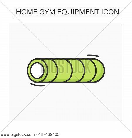 Foam Roller Color Icon. Fitness Workout And Yoga Class Tool. Concept Of Home Gym Equipment And Body