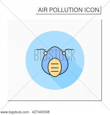 Filtering Facepiece Line Icon. Respiratory Protection. Industrial Pollution N95 Face Mask. Biohazard