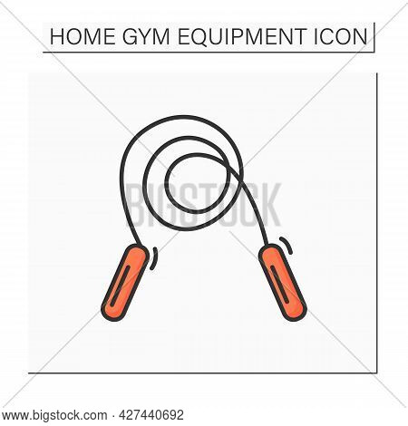 Jumping Rope Color Icon. Jump Cord. Concept Of Sport Activity, Simple Fitness Exercise And Children