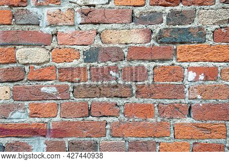 Old Weathered Red Brick Wall For Texture Or Background, Classic Rough Aged Brickwork, Vintage Masonr