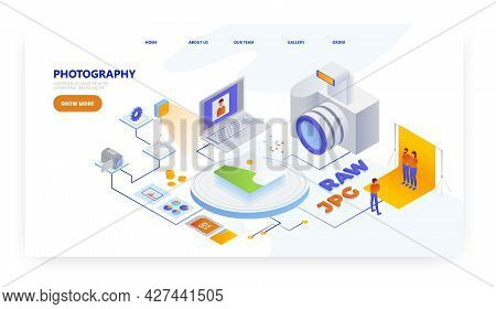 Photography, Landing Page Design, Website Banner Vector Template. Photographer Profession.