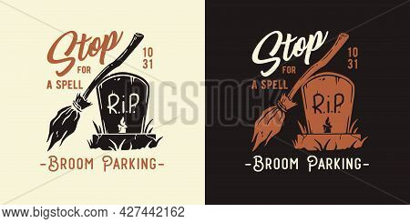 Halloween Headstone Of Undead For Witch Print