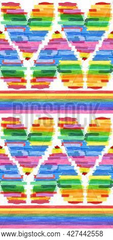 Watercolor Seamless Rainbow Pattern. Symbol For Lesbian Gay Bisexual And Transgender. Design Element