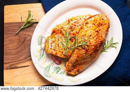 Food Concept Organic Spicy Marinated Duck Breasts On Wooden Board With Copy Space