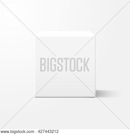 Realistic White Cube Box With Shadow. Mockup Template Design For Presentation, Advertising. Blank Ca