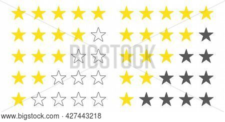 Five Stars Customer Product Rating Set. Rate Status Level. Different Ranks From One To Five Stars. G