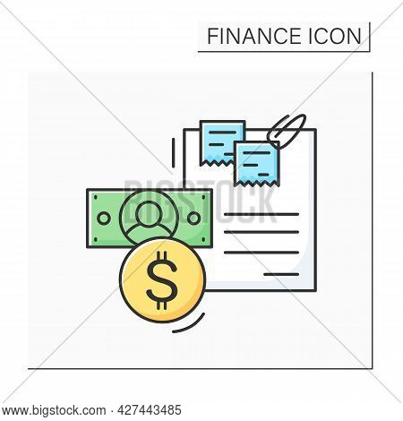 Budget Color Icon. Finance Plan Document With Dollar Coin And Banknote. Concept Of Money Planing And