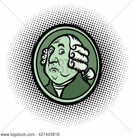George Washington American President, Profile Portrait In A Wig. Famous Historical Figure